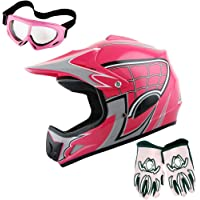 $54 » WOW Youth Motocross Helmet BMX MX ATV Dirt Bike Helmet Spider Web Pink + Goggles +…