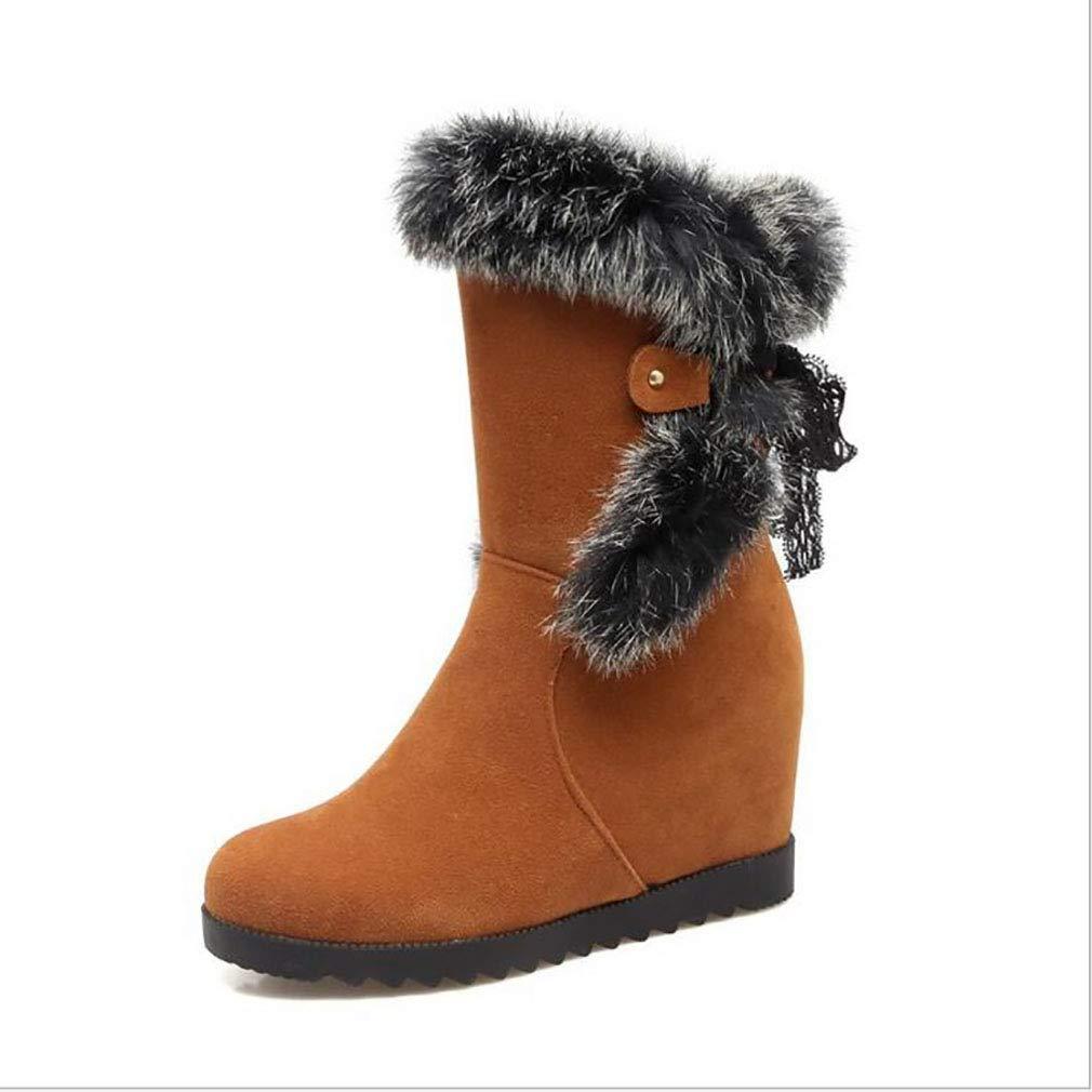 Hy Damen Wildleder Winter Comfort Schneestiefel Erhellen Runde Toe Stiefelies/Winter wasserdicht Snowproof Keilabsatz Stiefel/Fashion Stiefel Gelb/Schwarz / Beige (Farbe : EIN, Größe : 43)