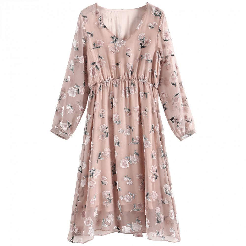 L BINGQZ Dress autumn women's new ladies temperament V-neck floral long long-sleeved autumn skirt