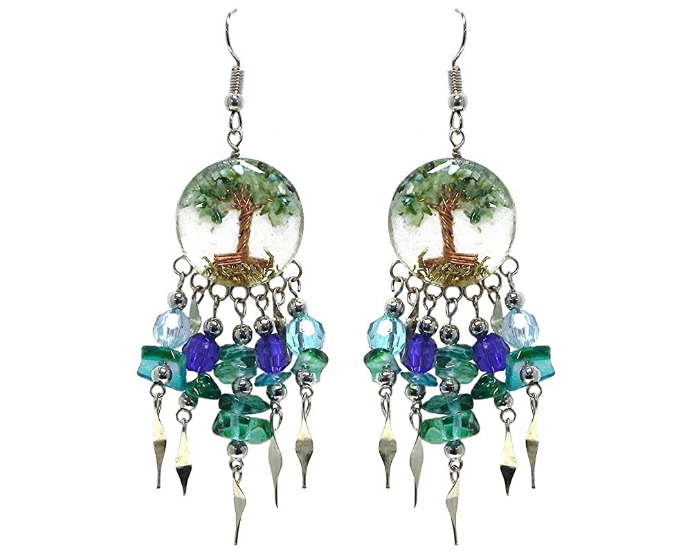 Tree of Life Crushed Chip Stone Round Acrylic Long Crystal Beaded Chip Stone Dangle Earrings