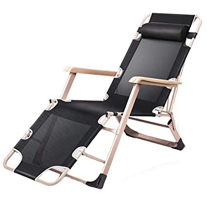 ba072597e0a7 Amazon.com : Recliners Folding Bed Single Bed Simple Portable Marching Office  Nap Bed/Multifunctional Outdoor Patio Lazy Couch (Color : Black, ...