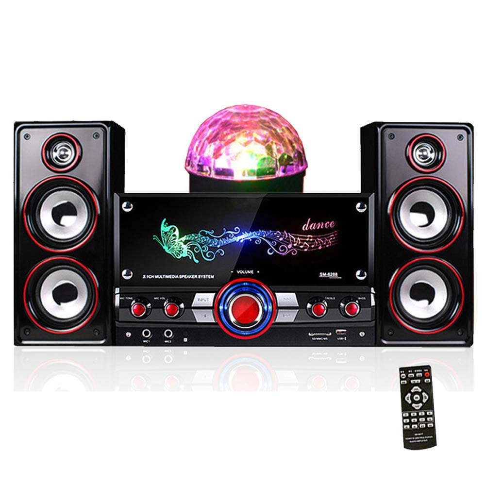 NFY Wooden Bluetooth Speaker 3D Stereo System with subwoofers, Wireless Loudspeaker Box Portable Boombox HiFi AUX TF USB Input for Home TV PC