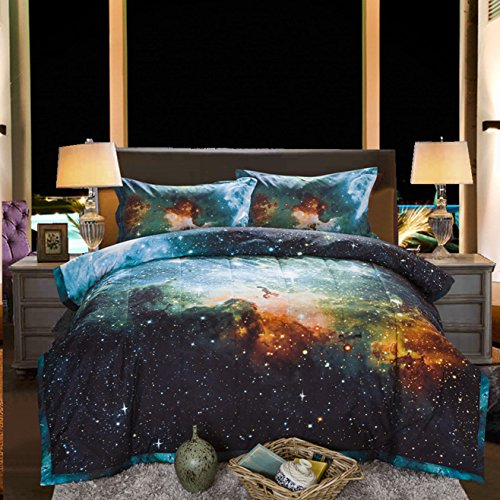 A Nice Night Black and Blue Galaxy Bedding Sets 3D Printed Cloud Quilt Comforter Sets by using 2 Bedroom Pillow Covers