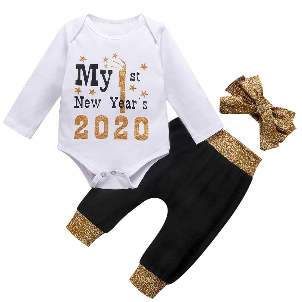 LMOON 3Pcs My 1st New Year s 2020 Newborn Baby Girls Boy Long Sleeve Romper Tops Pants Headband Outfit Set