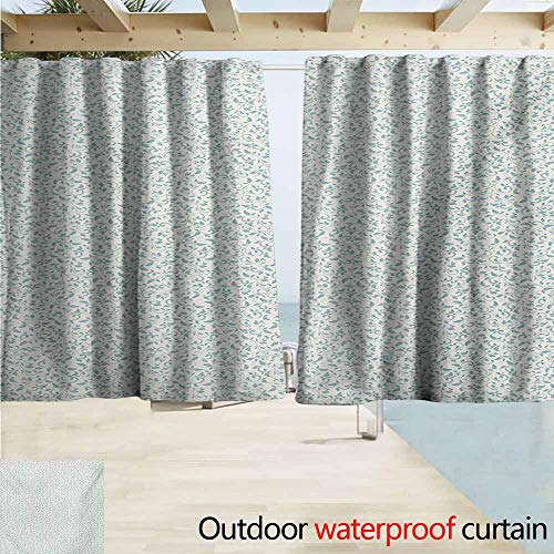 (Wlkecgi Ivory and Blue Outdoor Curtain Panel for Patio Vintage Floral Arrangement Victorian Swirls Medieval Composition Grommet Curtains for Bedroom W55 xL63 Turquoise and Ivory)