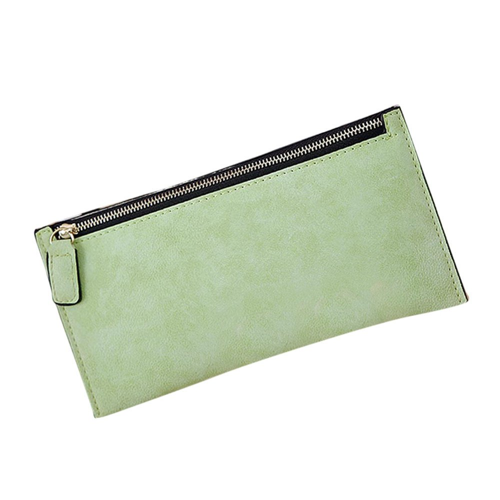 livotyファッションレディースレザーファスナー付き財布クラッチカードホルダー財布レディースロングハンドバッグ  グリーン B01N4NKMGB