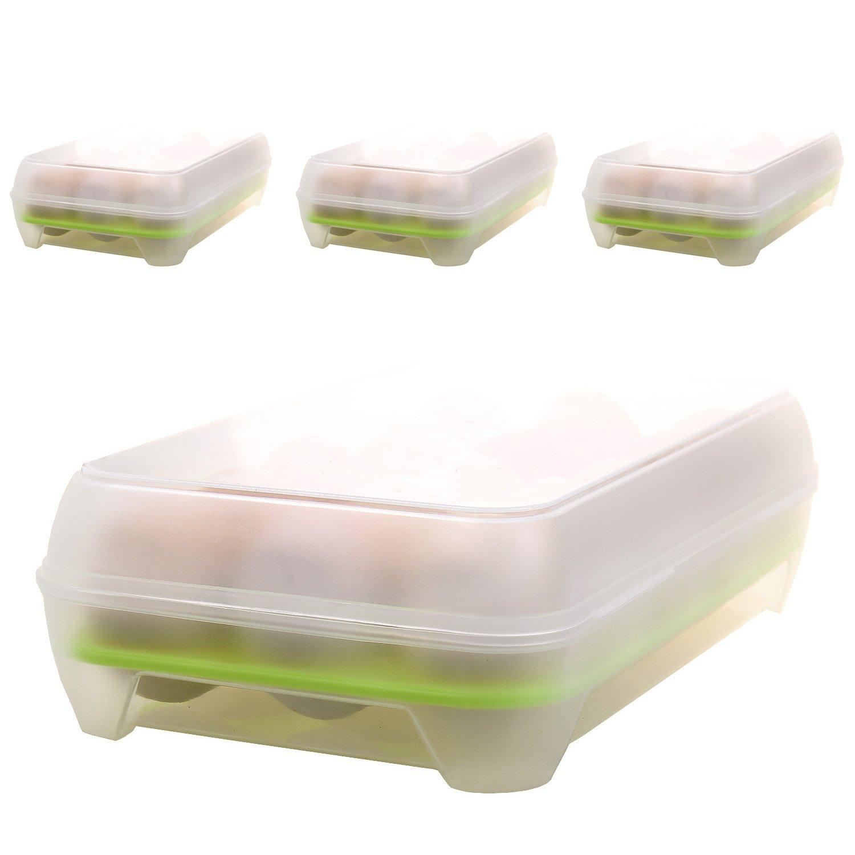 TUKA [2x] Huevera con cierre de clip para refrigerador y Cocina Suministros, grande Higiénico contenedor de huevos con tapa, plástico Caja de huevos con capacidad para 15 huevos, plástico Caja de huevos para la nevera, Caja de almacenamiento de huevos, Azu