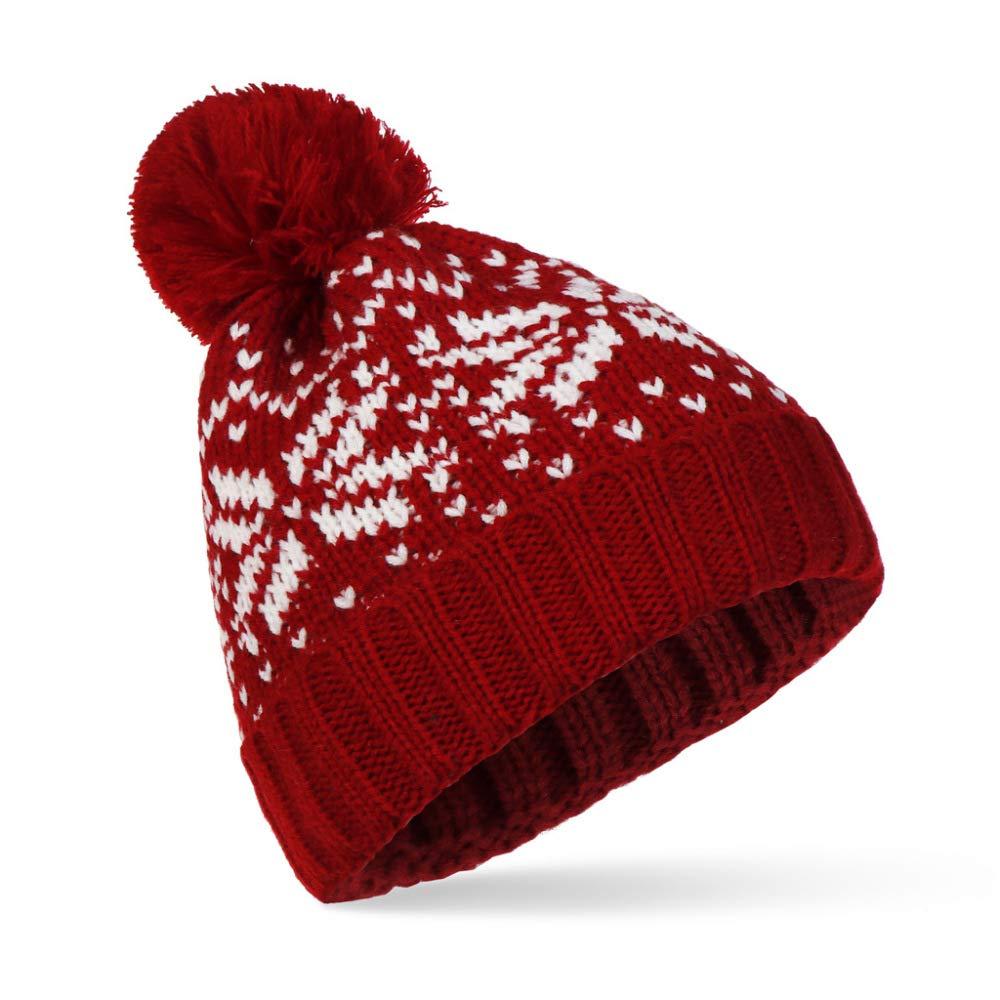 KFEK Nuevo Gran Sombrero de Lana de Copo de Nieve Hembra otoño e ...