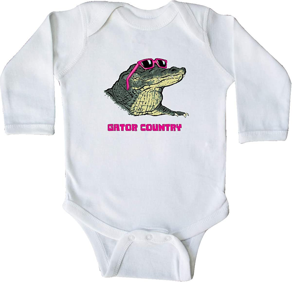 inktastic Gator Country Sunny Gator in Pink Sunglasses Long Sleeve Creeper