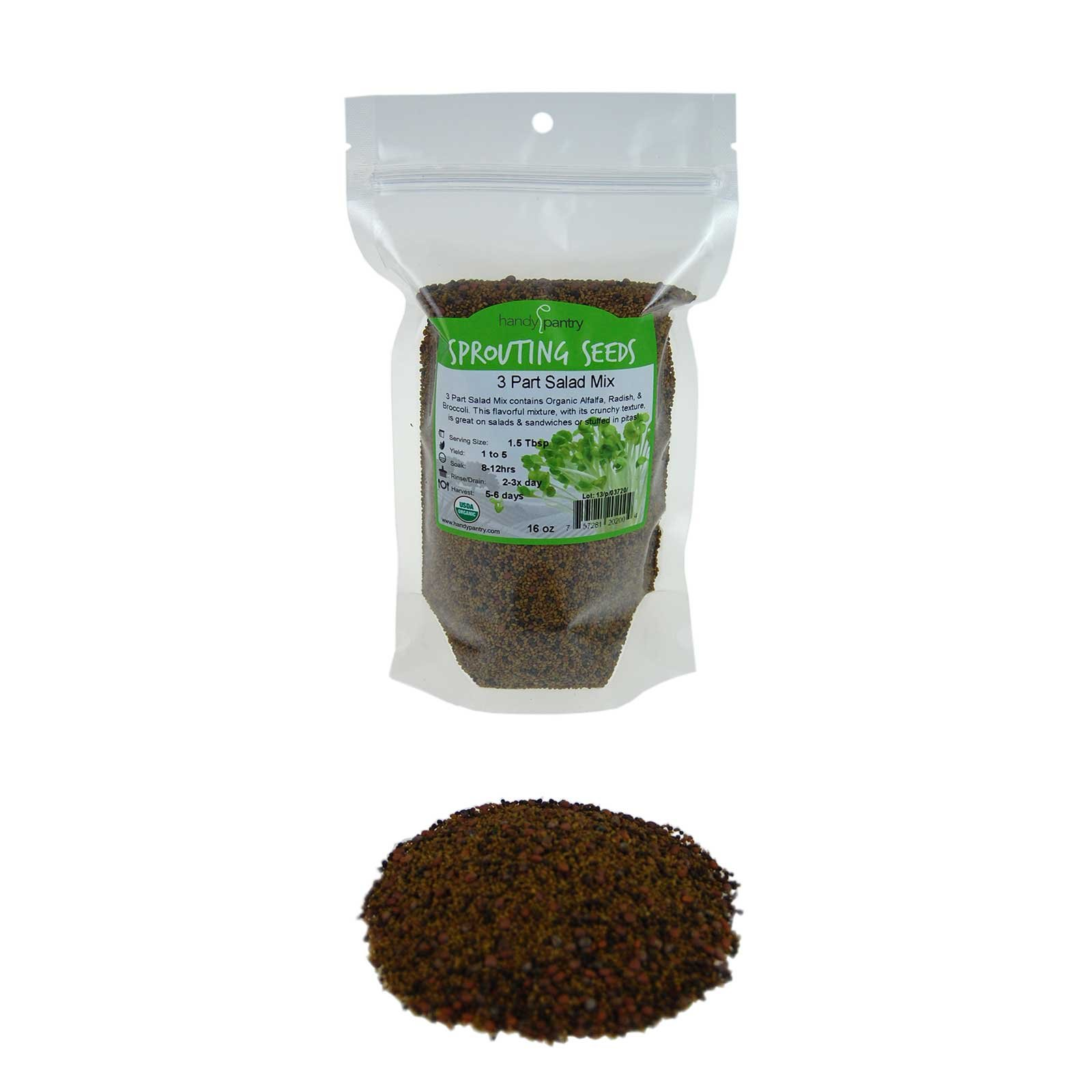 Handy Pantry 3 Part Salad Sprout Seed Mix - 1 Lbs Brand: Certified Organic Sprouting Seeds: Radish, Broccoli & Alfalfa: Cooking, Food Storage or Delicious Salad Sprouts