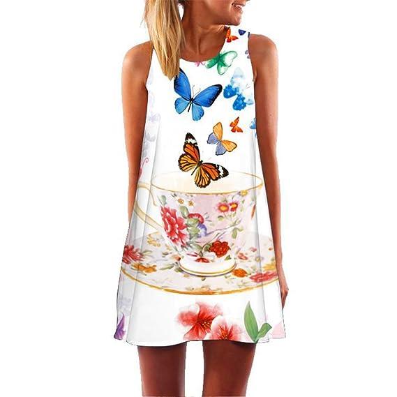 ALIKEEY Womens ❤ Loose Verano Sin Mangas Mini Vestido Corto Butterfly Print Tank Boda Playa