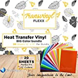 HTV Heat Transfer Vinyl Bundle 12x10-20 Multi-Color Sheets for Cricut Silhouette Cameo Or Heat Press Machine - Bonus PTFE Sheet Iron On Vinyl for DIY T-Shirts