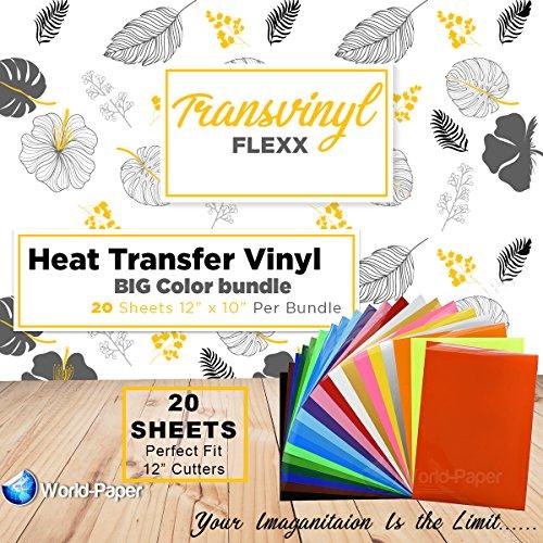 HTV Heat Transfer Vinyl Bundle 12x10-20 Multi-Color Sheets for Cricut Silhouette Cameo Or Heat Press Machine - Bonus PTFE Sheet Iron On Vinyl for DIY T-Shirts by world-paper