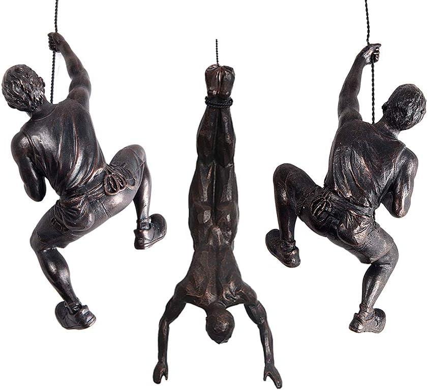 Olpchee 3Pcs Men Climbing Wall Sculpture Set Resin Wall Art Statue for Home/Living Room/Bedroom/Outdoor Decor (Copper Black)