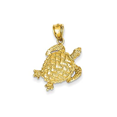 14k Yellow Gold Open Turtle Pendant