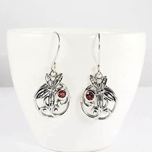 Beautiful Garnet stone handmade 92.5 silver earing