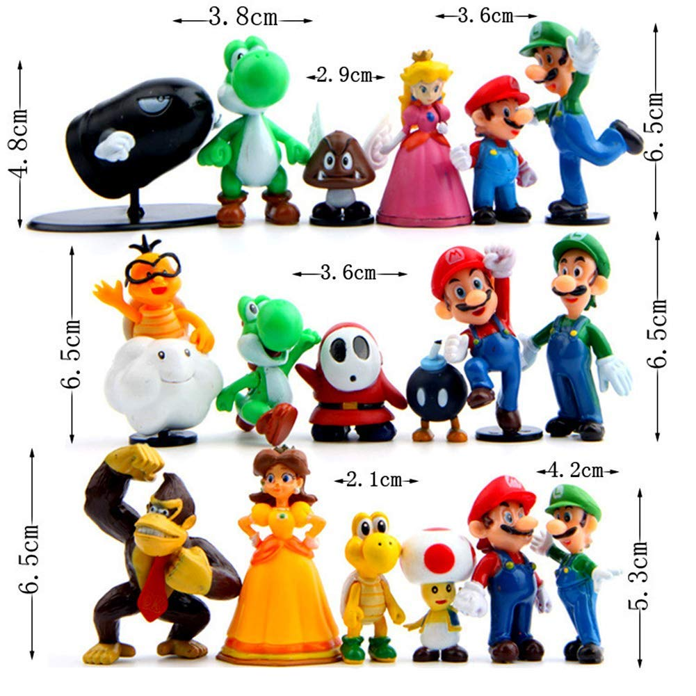 18 Pcs Super Mario Brothers Cake Topper Figures Toy Set -Kids Birthday Party Cake Decoration Supplies by IAMPOK