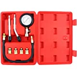 Pressure Gauge Tester Kit, Auto Petrol Gas Engine Cylinder Compression Gauge Tester Tool Car Diagnostic Tool, 0 - 300 PSI