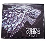Game of Thrones Stark House Dire Wolf 'Winter is Coming' TV Show Theme Leather Bi-Fold Wallet with Gift Box