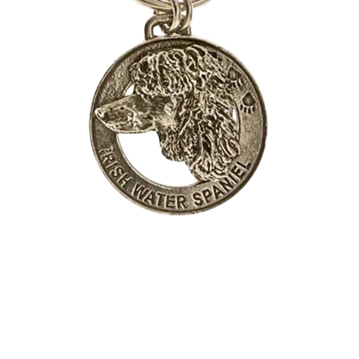 Creative Pewter Designs, Pewter Irish Water Spaniel Key Chain, Antiqued Finish, DK102