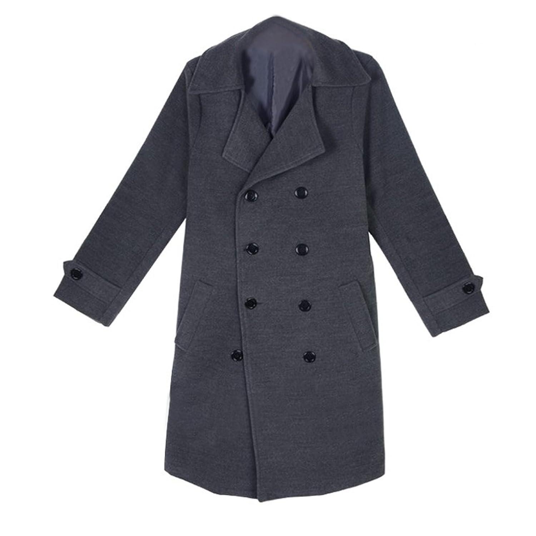 TOOGOO(R) Men's Stylish Slim Double Breasted Overcoat Trench Coat Winter Warm Long Jacket Grey - XXL