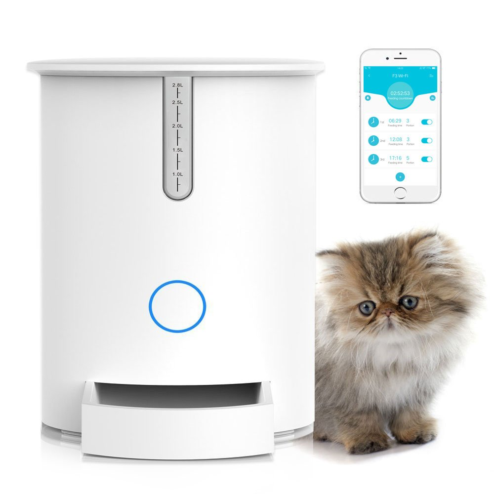 Automatic Pet Feeder, Programmable Smart Food Dispenser for Cats, Compatible with iOS and Android