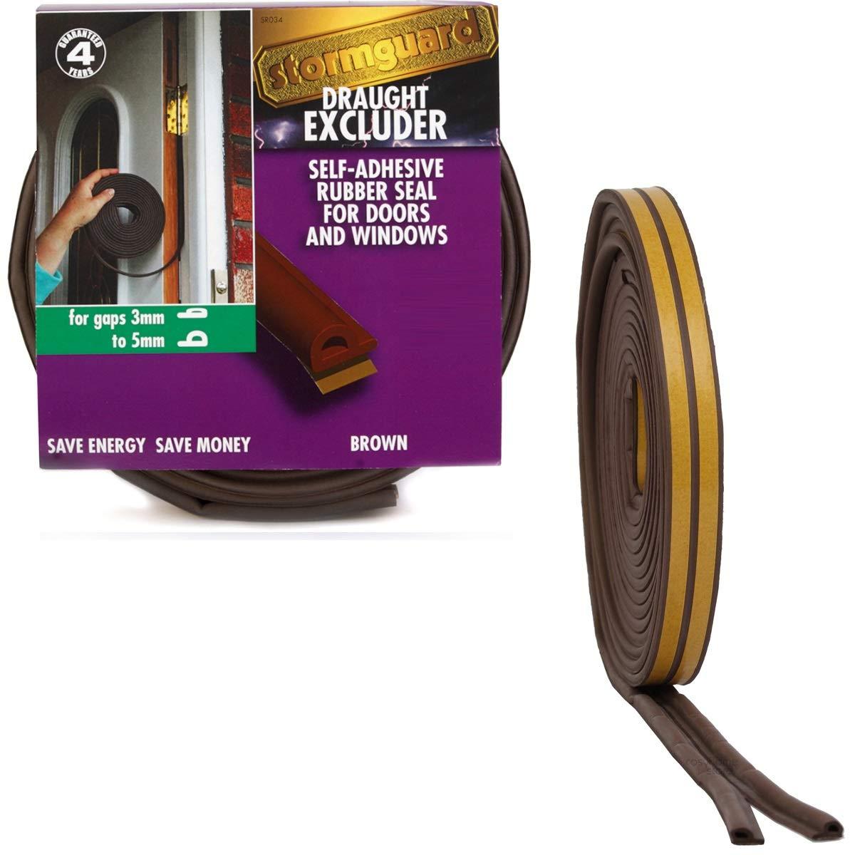 EPDM Self Adhesive Rubber Seal P for 3 to 5mm gaps 12m BLACK Stormguard