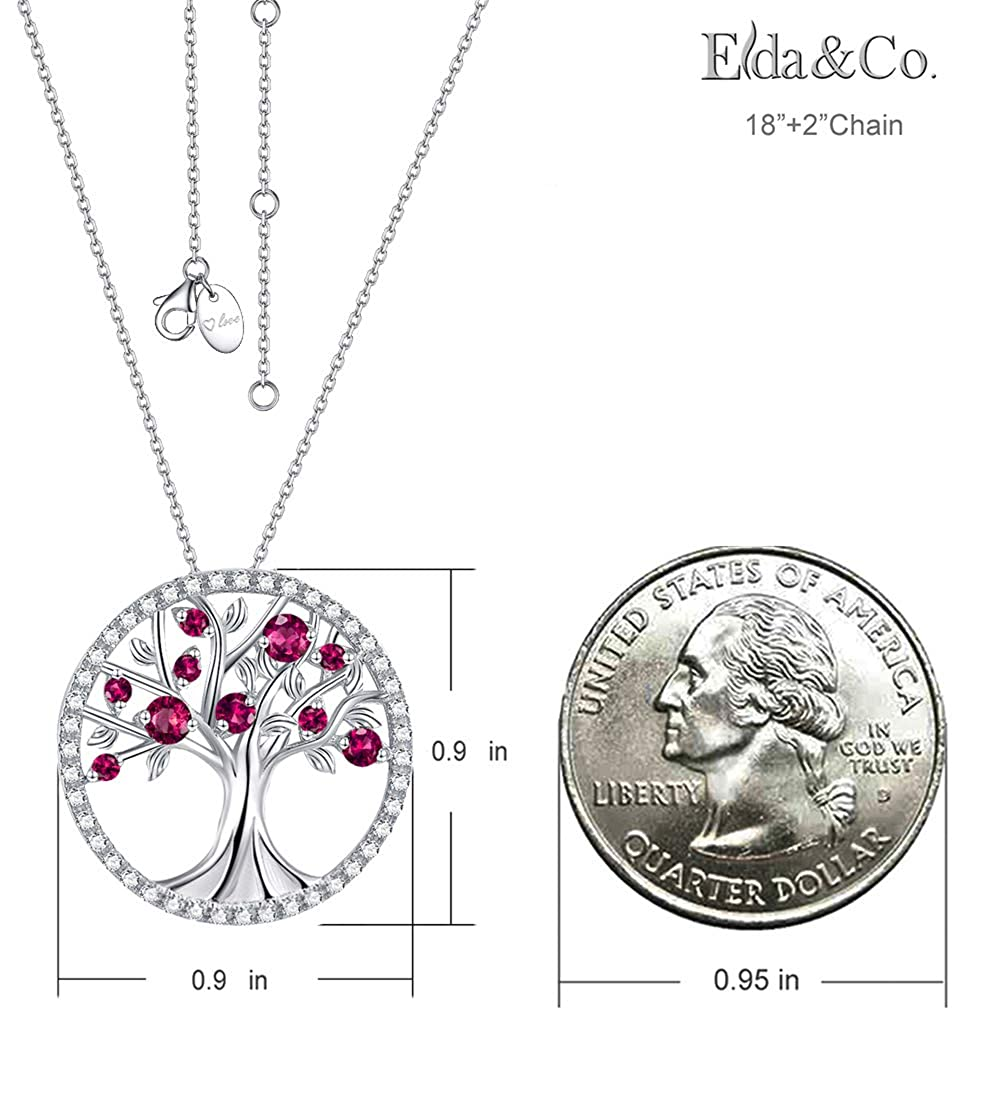 July Birthstone Necklace LC Red Ruby Jewelry Tree of Life Sterling Silver Pendant Birthday Gifts for Mom Wife Love Family Girls Women Anniversary Gifts