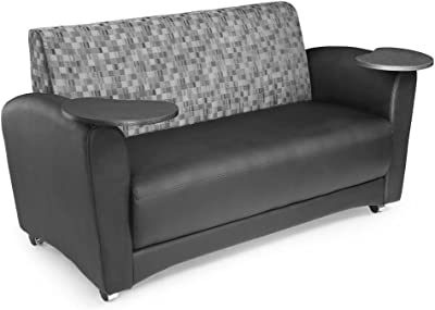"""InterPlay Sofa with Tablet Arms Dimensions: 61""""W x 29""""D x 34""""H Seat Dimensions: 49""""Wx21""""Dx18.50""""H Weight: 93 lbs. Nickel Fabric Back/Black Polyurethane Seat/Bronze Tablet"""