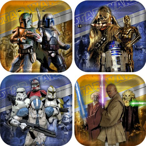[Star Wars Generations 3D Square Dessert Plates Party Accessory by KidsPartyWorld.com] (Com Star Wars)