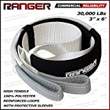 "Ranger 3"" x 6' Tree Saver Strap for Tow Winch Recovery Heavy Duty with Reinforced Loops + Protective Sleeves 30,000 lb Breaking Capacity 13.6 Tons"