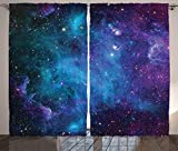 Cheap Ambesonne Space Decorations Curtains 2 Panel Set by, Galaxy Stars in Space Celestial Astronomic Planets in the Universe Milky Way Print, Living Room Bedroom Decor, 108 W X 90 L Inches, Navy Purple