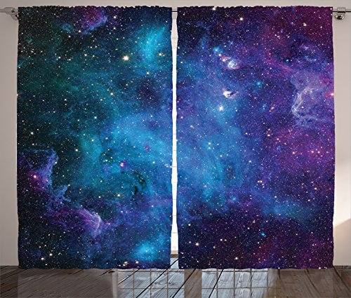 Space Decor Window Curtains by Ambesonne, Galaxy Stars in Celestial Astronomic Nebula Planets in Universe Milky Way Print, 2 Panels Drapes for Living Room Bedroom Set, 108 W X 84 L Inches, Navy Purple - Galaxy Curtains