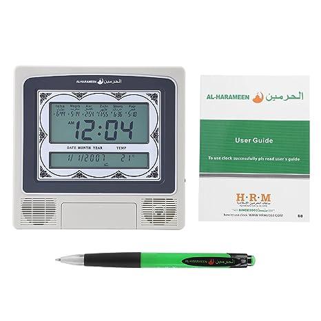 Hilitand Reloj musulmán de oración árabe Azan Athan Reloj de Mesa de Pared con Alarma de