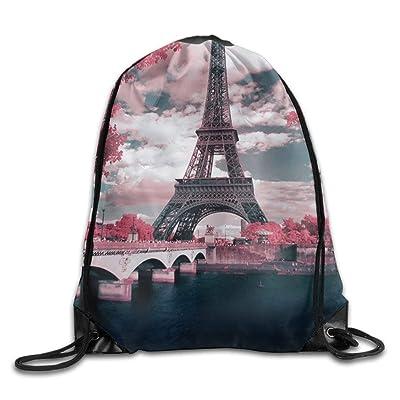 QIAOWZFUN Print Drawstring Backpack Rucksack Shoulder Bags Gym France Paris Eiffel Tower Maple Leaf Landscape Drawstring Backpack For Teens Soft Polyester Gym Drawstring Bag Sport Bag