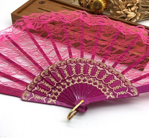 Rose 10Pcs/Lot Spanish Style Plastic Lace Folding Hand Held Flower Fan Dance Fan Decoracion Ornaments by HandFan