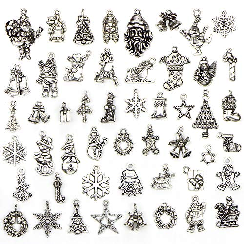 (Christmas Charms - 50 pcs Mix Craft Supplies Santa Stars Christmas Tree Snowflakes Deer Bell Stocking Snowman Charms Pendants for Crafting, Jewelry Findings Making Accessory for DIY Necklace Bracelet)