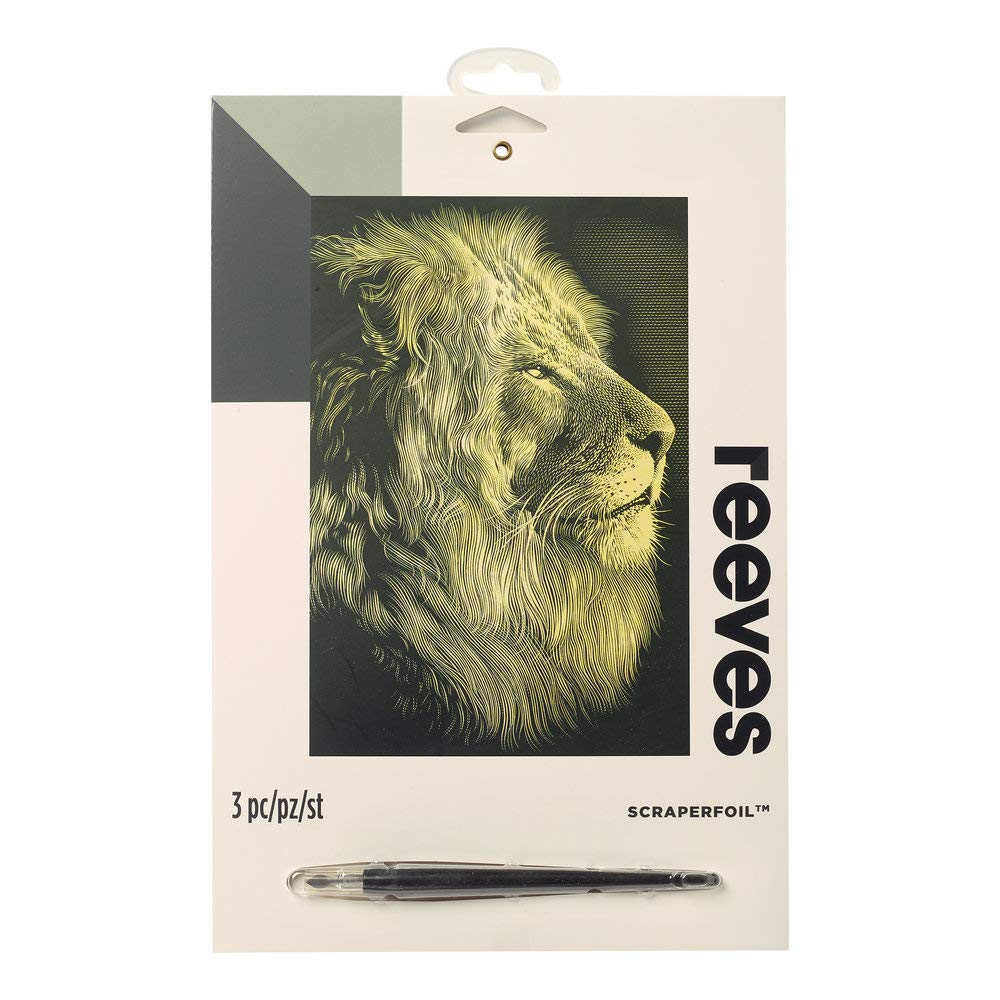 Reeves - Engraving Art Scraper Foil Kit - Medium - Gold - CF59 - Lion