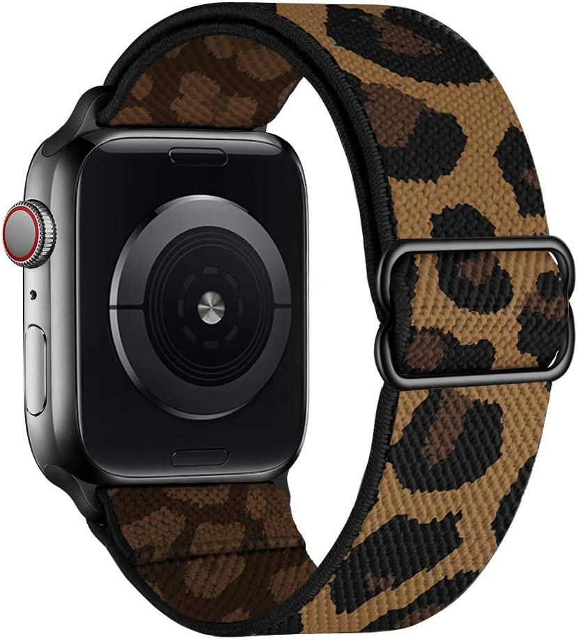 SIRUIBO Stretchy Nylon Solo Loop Bands Compatible with Apple Watch 38mm 40mm, Adjust Stretch Braided Sport Elastic Women Men Strap Compatible with iWatch Series 6/5/4/3/2/1 SE, Cheetah Leopard