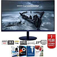 Samsung C27H580 27 Full HD 1920x1080 Curved FreeSync Monitor, Glossy Blue-Black + Elite Suite 17 Standard Software Bundle (Corel WordPerfect, Winzip, PDF Fusion,X9) + 1 Year Extended Warranty