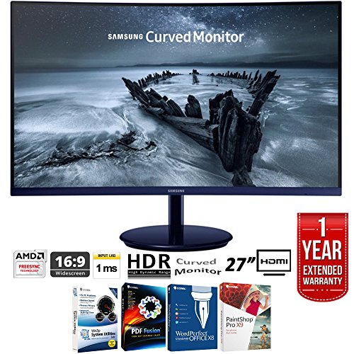 Samsung C27h580 27  Full Hd 1920X1080 Curved Freesync Monitor  Glossy Blue Black   Elite Suite 17 Standard Software Bundle  Corel Wordperfect  Winzip  Pdf Fusion X9    1 Year Extended Warranty