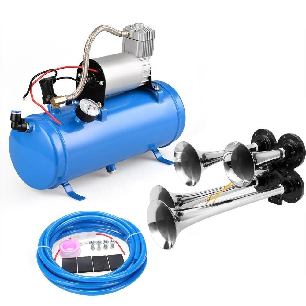 4 Trumpet Vehicle Air Horn With 12 Volt Compressor and Hose 150 dB Train 120PSI Kit Set for Train Car Truck Boat RV by evokem