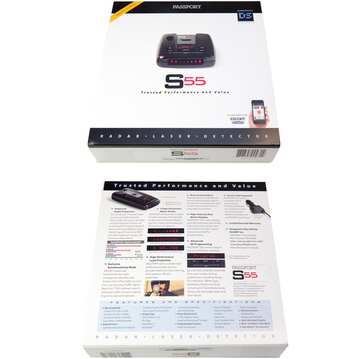 Escort Passport S55 High Performance Pro Radar and Laser Detector with DSP (High-Intensity Red Display) by Escort (Image #6)