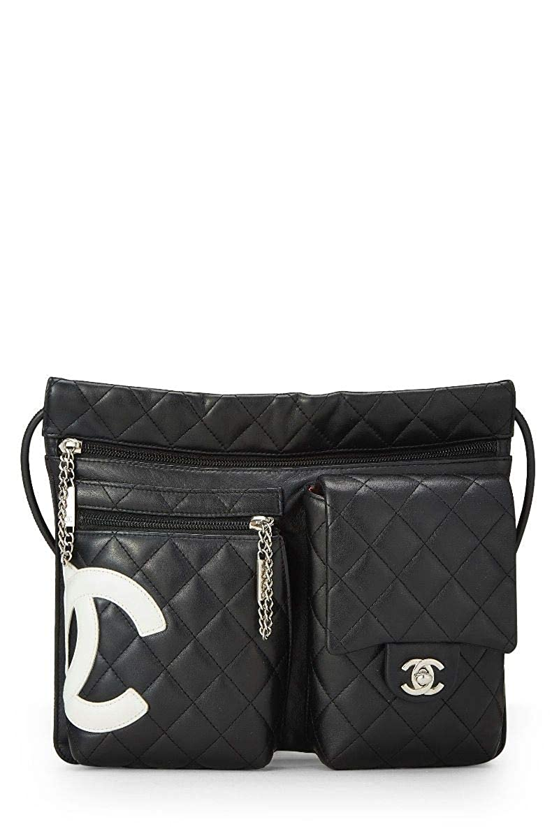 a767e92f471e CHANEL Black Quilted Calfskin Cambon Ligne Shoulder Bag (Pre-Owned):  Handbags: Amazon.com
