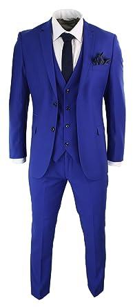 Costume 3 pièces homme bleu roi coupe ajustée chic tendance mariage soirée  fête f75e41435f4