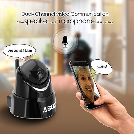 ABOX 1080P Vertical 90 ° Ojo de Pez Lente Audio Bidireccional Wi-Fi IP Cámara con Seguridad de Alerta de Visión Nocturna para Niños / Ancianos / Mascotas: ...