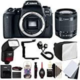 Canon EOS 77D 24.2MP Digital SLR Camera with 18-55mm EF-IS STM Lens , SFD-740C Speedlite Flash and Accessory Bundle