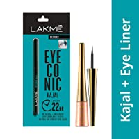 Lakme Eyeconic Kajal, Black, 0.35g with Lakme 9 to 5 Impact Eye Liner, Black, 3.5ml