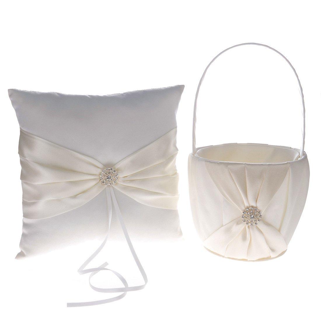 Remedios Champagne Ribbon Rhinestone Wedding Flower Basket Ring Pillow LWCAHLJZ130014
