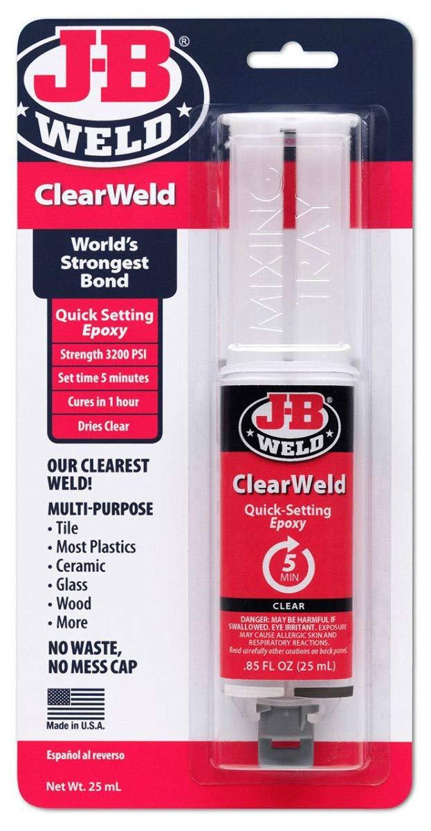J-B Weld 50112 Clear 25 ml ClearWeld Quick-Setting Epoxy Syringe